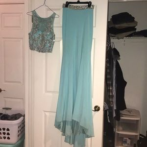 angela and alison size 2 light teal prom dress
